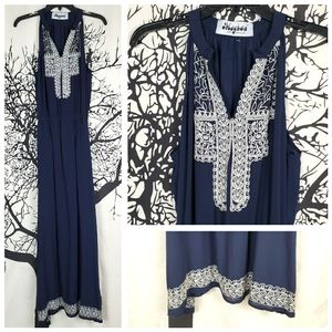 MEGHAN LA Navy Embroidered Maxi Dress Sleeveless M